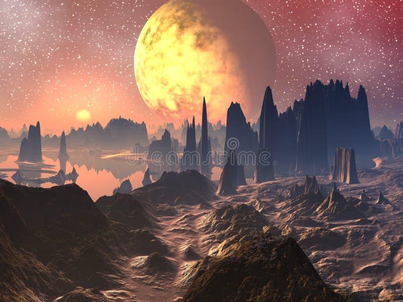 nad wschód słońca zmierzchem obcego krajobraz ilustracja wektor