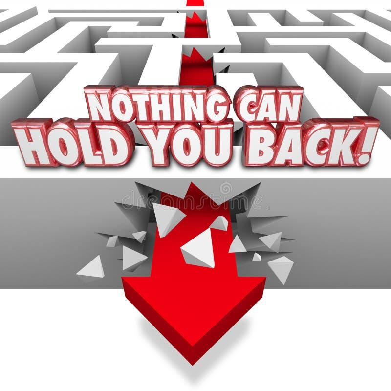 Nada pode retê-lo seta das palavras 3d através do labirinto ilustração do vetor