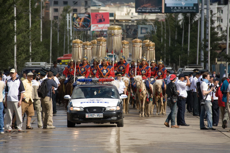 Download Nadaam Opening Ceremonies Parade And Police Car Editorial Photography - Image: 5914702