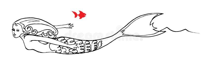 Nadada da sereia no mar com peixes ilustração stock