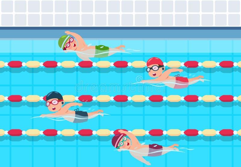 Nadada das crianças A competição nadadora das crianças na associação Ilustração do vetor das crianças do atletismo dos esportes ilustração do vetor