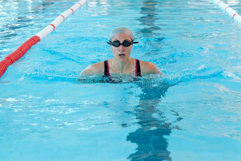 Nadada de la mujer joven en piscina de interior. estilo del breastroke. fotos de archivo