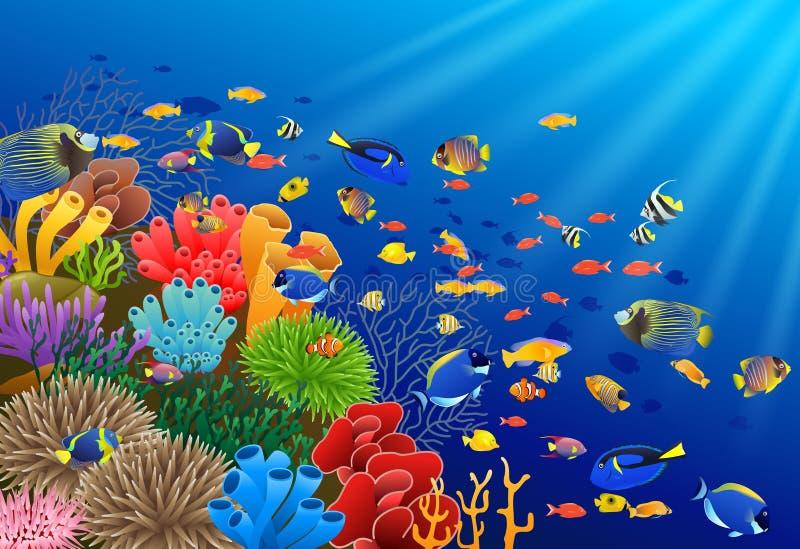 Nadada de los pescados en el submarino stock de ilustración