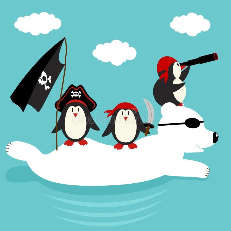 Nadada dos piratas dos pinguins no urso polar ilustração stock