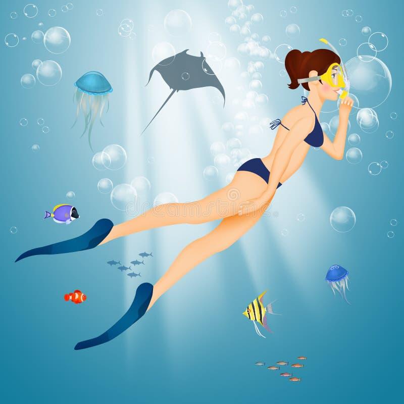 Nadadas da menina no fundo do mar com máscara e tubo de respiração ilustração do vetor