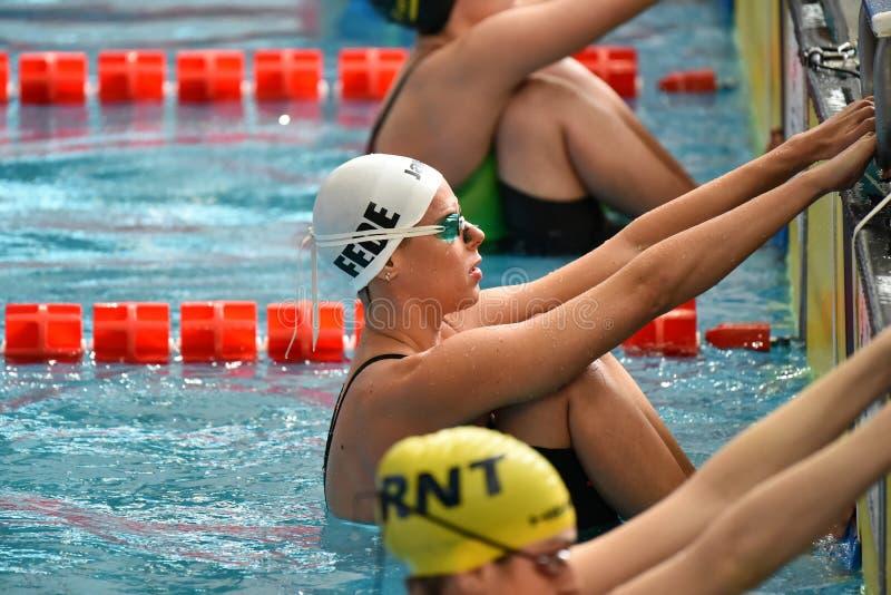 Nadador de Federica Pellegrini durante a 7a competição da natação de Milão dos di do citta de Trofeo fotos de stock royalty free