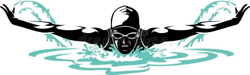 Nadador de sexo femenino profesional de la mariposa ilustración del vector