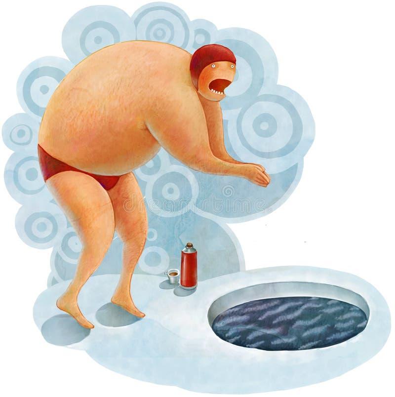 Nadador do inverno no furo do gelo ilustração royalty free
