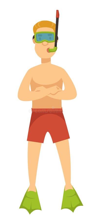 Nadador em troncos de mergulho da máscara e do tubo de respiração e no caráter isolado aletas ilustração royalty free