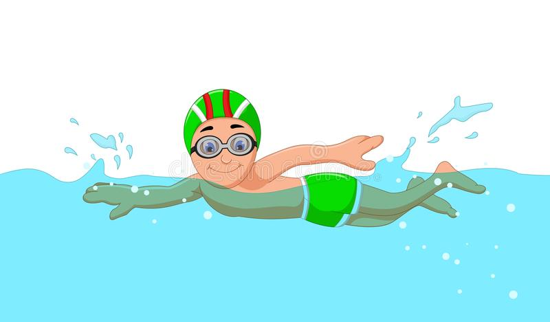 Nadador engraçado do menino dos desenhos animados na piscina ilustração royalty free