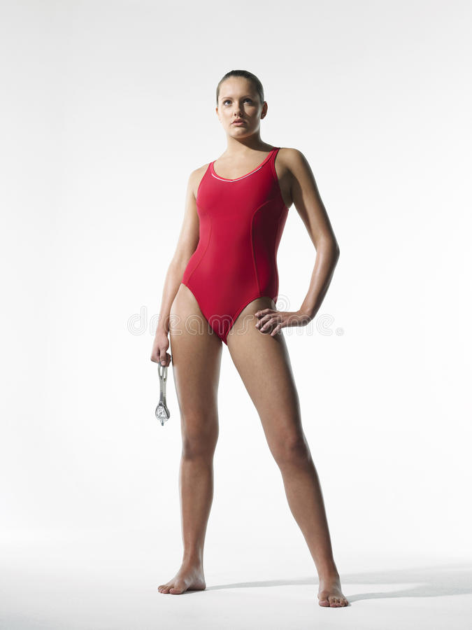 Nadador fêmea seguro fotos de stock