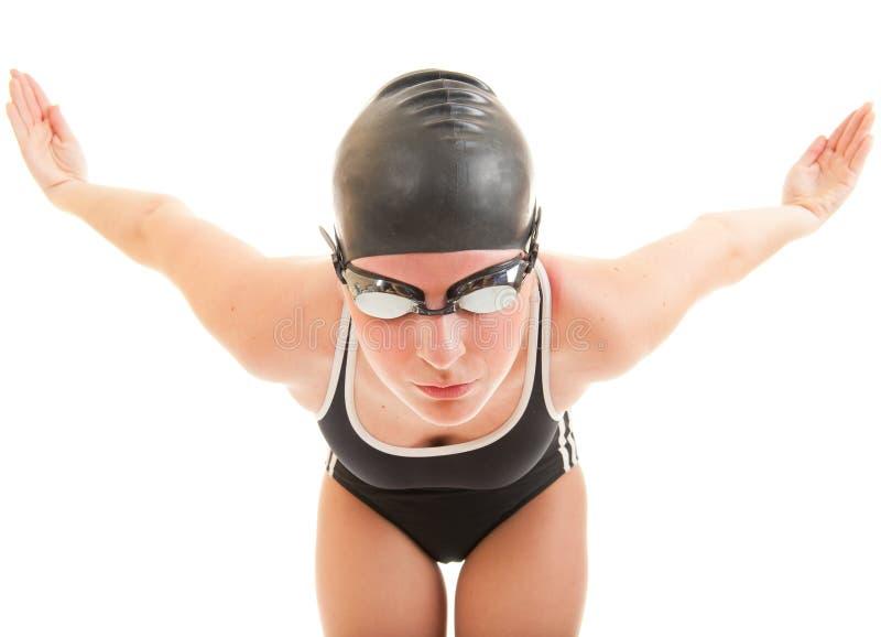 Nadador listo para ir retrato imagenes de archivo