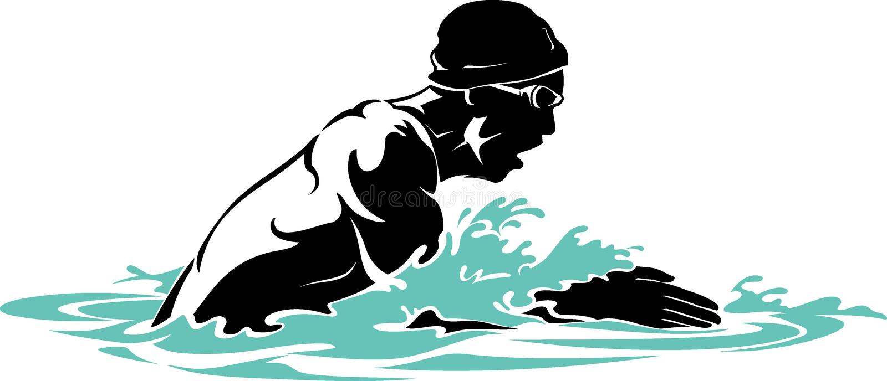 Nadador Men del movimiento de pecho ilustración del vector