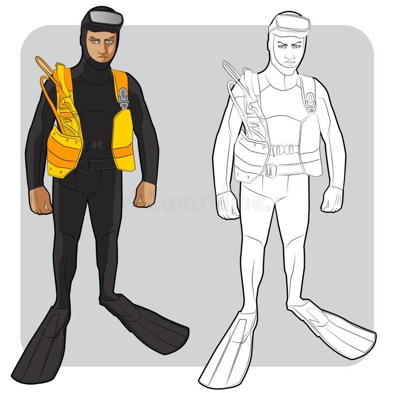 Nadador ou mergulhador ilustração royalty free
