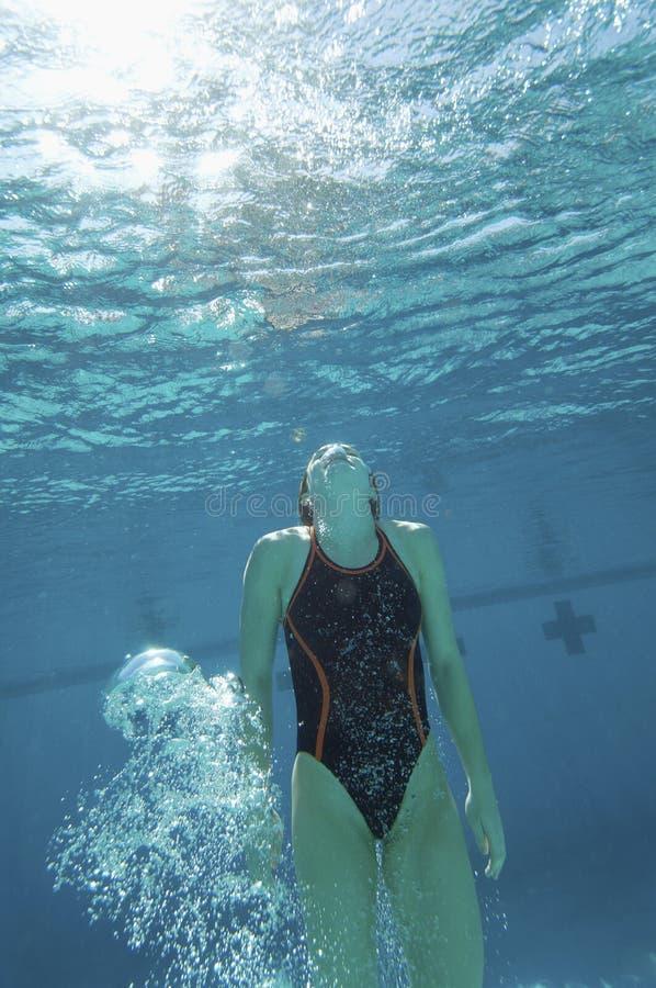 Nadador que guardara a respiração sob a água fotos de stock