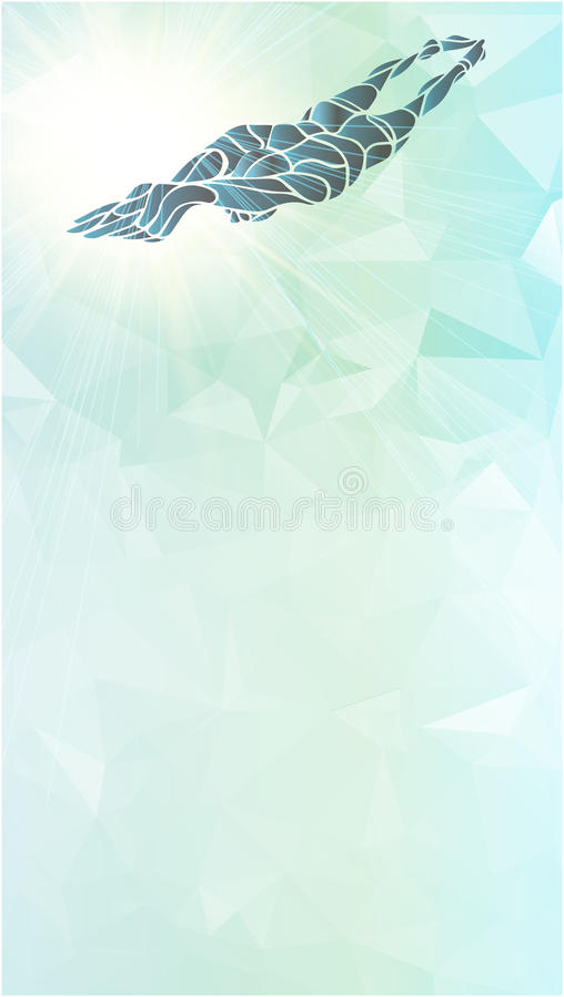 Nadador Silhouette del estilo libre Atleta de la natación del deporte ilustración del vector
