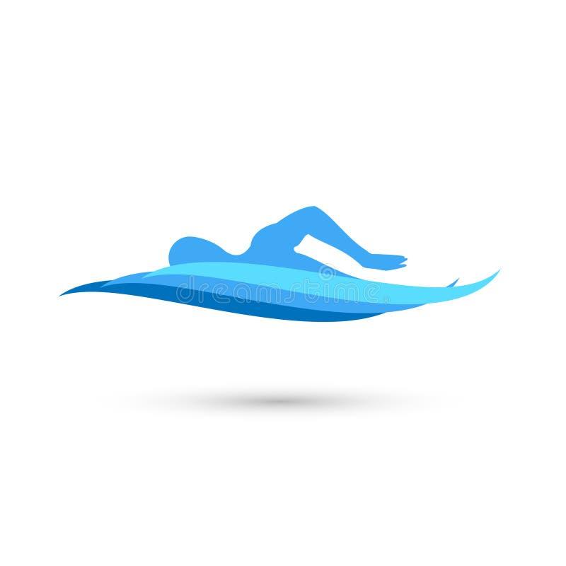 Nadador Silhouette do estilo livre com as ondas da associação de água ilustração royalty free