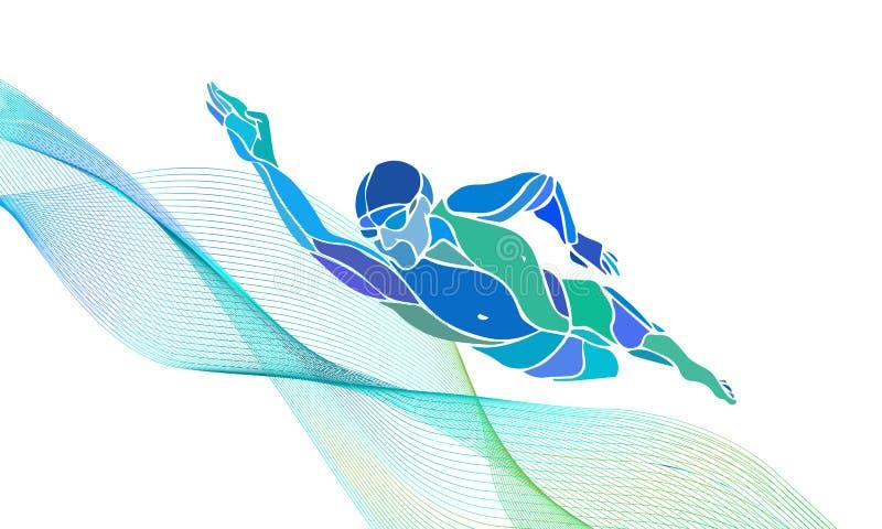 Nadador Silhouette do estilo livre Natação do esporte imagem de stock royalty free