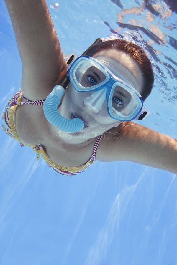 Nadador subaquático imagem de stock