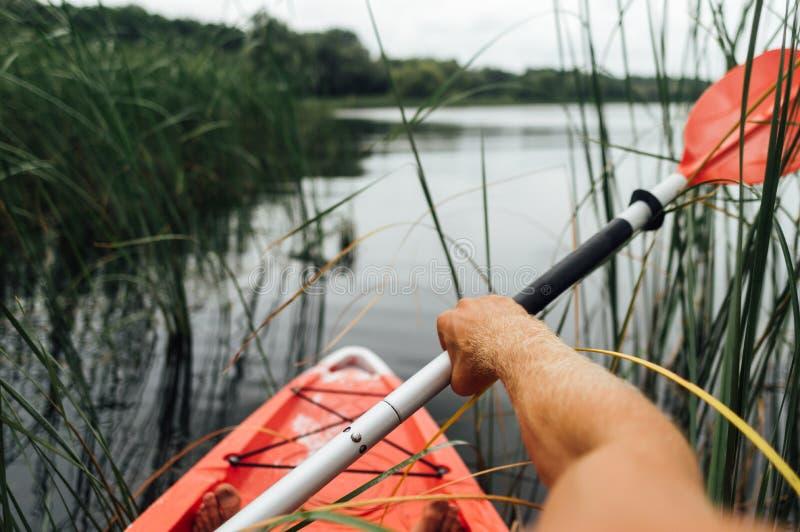 Nadador vermelho do caiaque no lago no verão fotos de stock royalty free