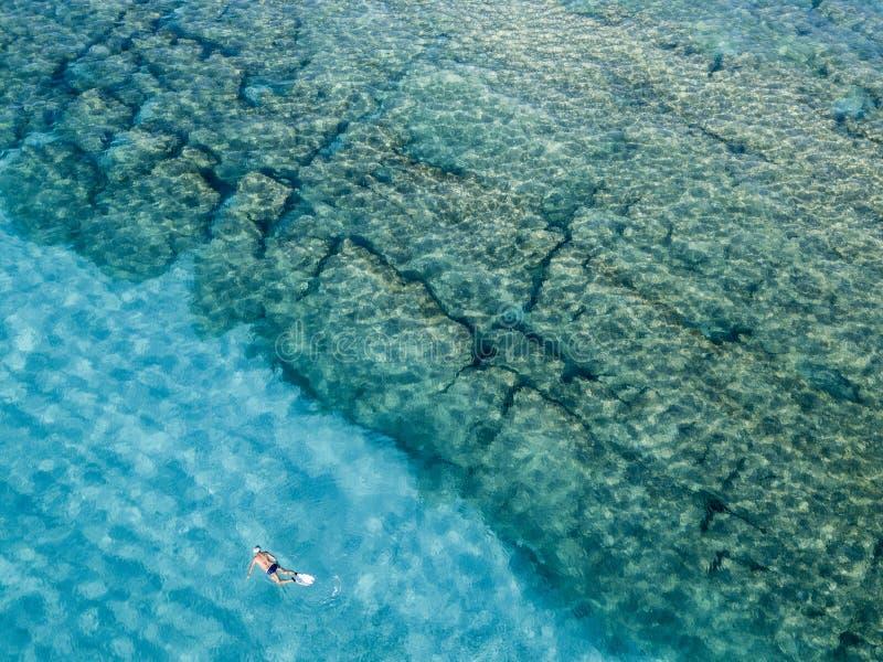 Nadadores, bañistas que flotan en el agua Silueta del hombre de negocios Cowering fotografía de archivo libre de regalías