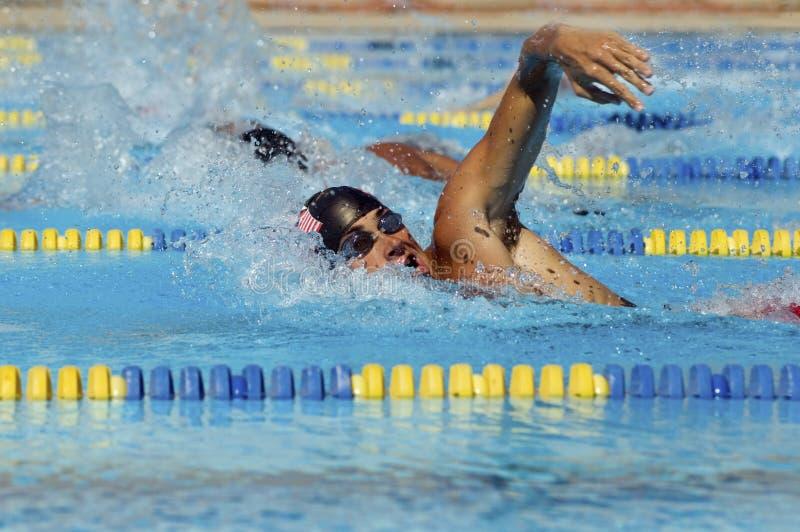 Nadadores masculinos na associação imagem de stock
