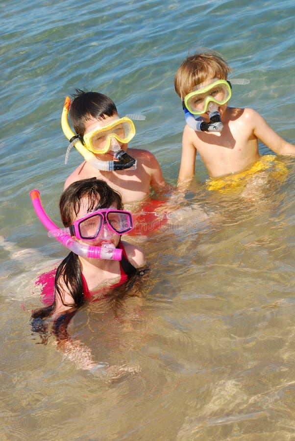 Nadadores na água fotografia de stock
