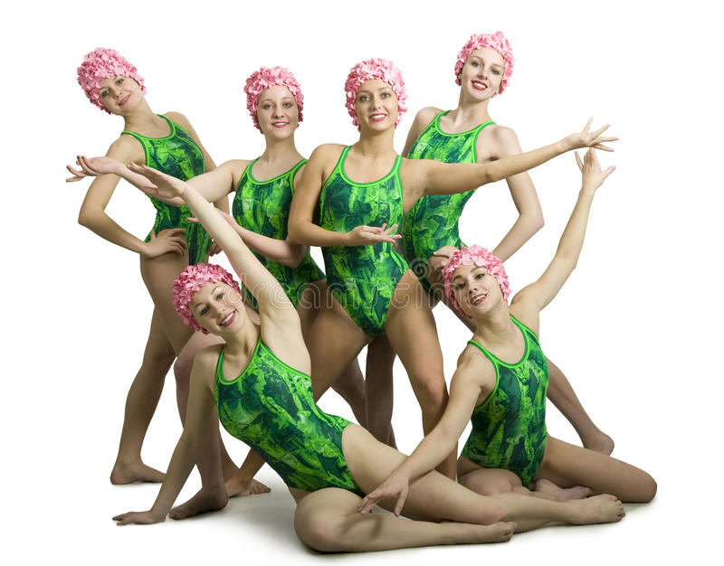 Nadadores sincronizados foto de archivo