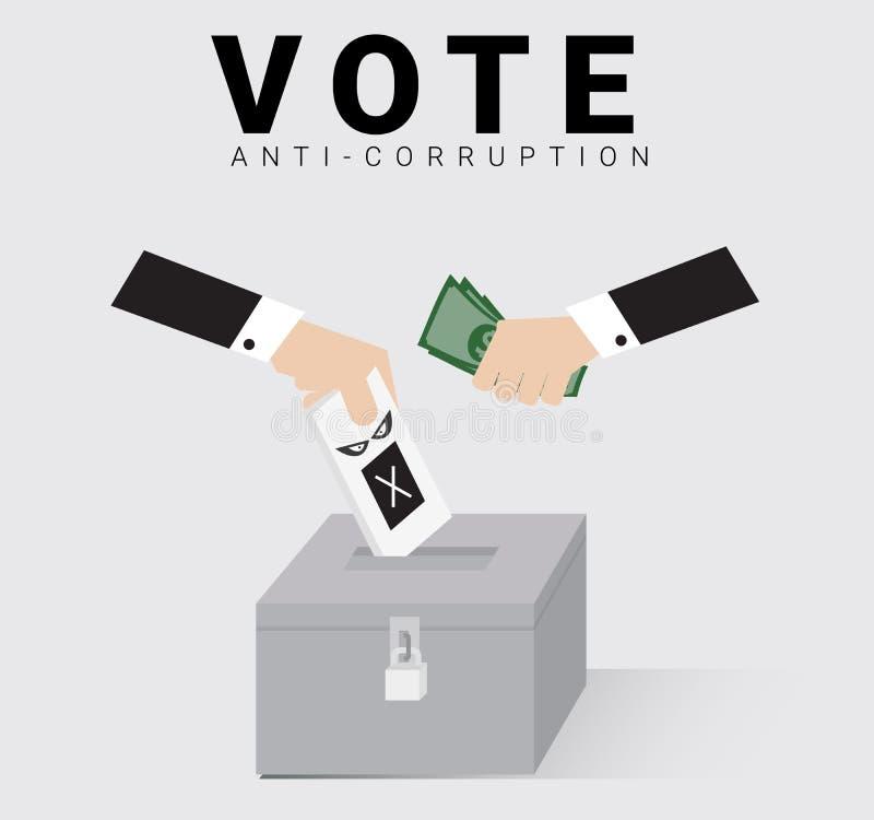 Nadający się wyborcy lub okręgu wyborczego kropla w zamkniętym tajnego głosowania pudełku z pieniądze od ręki bóg dla wybór powsz royalty ilustracja