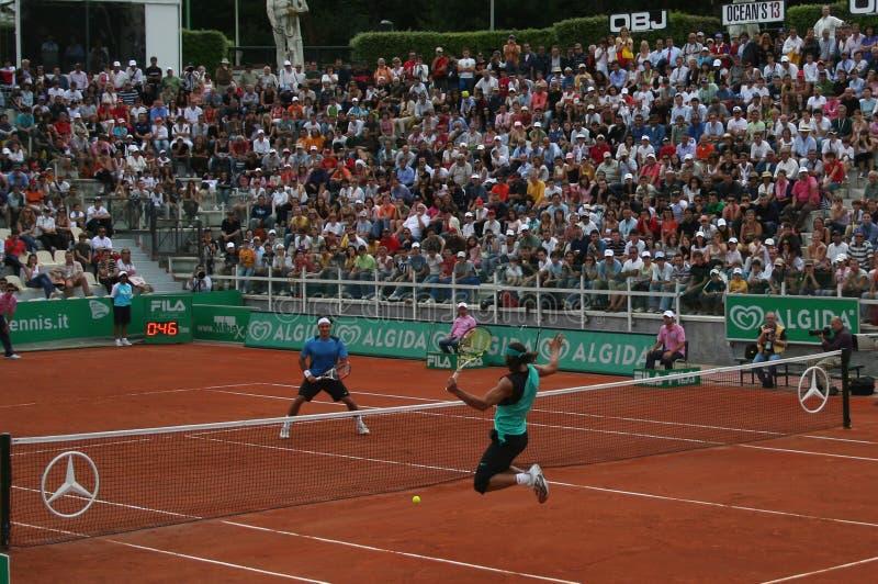 Nadal contre Federer image libre de droits
