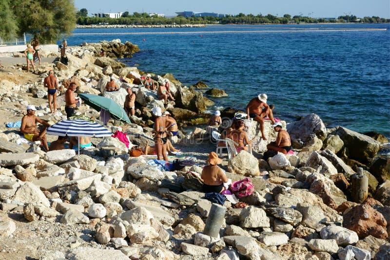 Nadando de rocas, Atenas central, Grecia fotos de archivo libres de regalías