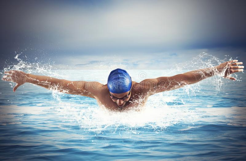 Nadar no mar fotografia de stock royalty free