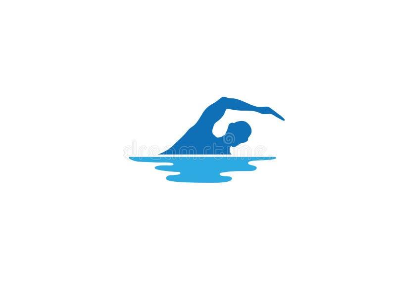 Nadar no Triathlon da associação para o projeto do logotipo ilustração royalty free