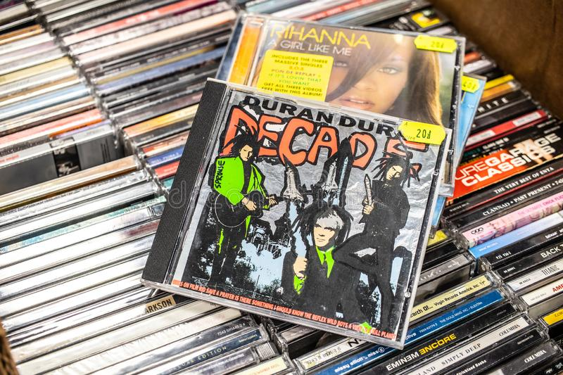 Duran Duran CD album Decade: Greatest Hits on display for sale, famous English new wave band royalty free stock photo
