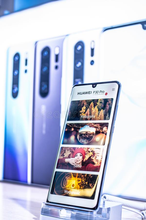 Huawei P30 Pro smartphone, presentation features of P30 Pro with Android at Huawei exhibition pavilion showroom, stock images
