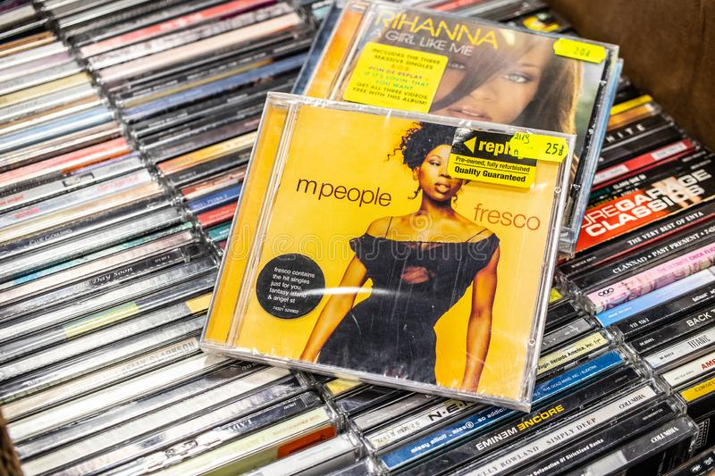 M People CD album Fresco 1997 on display for sale, famous English dance music band, royalty free stock photos