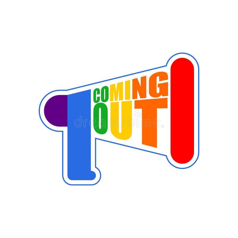 Nadchodząca LGBT znaka wiadomość out Tęcza megafonu ikony socjalny netw royalty ilustracja