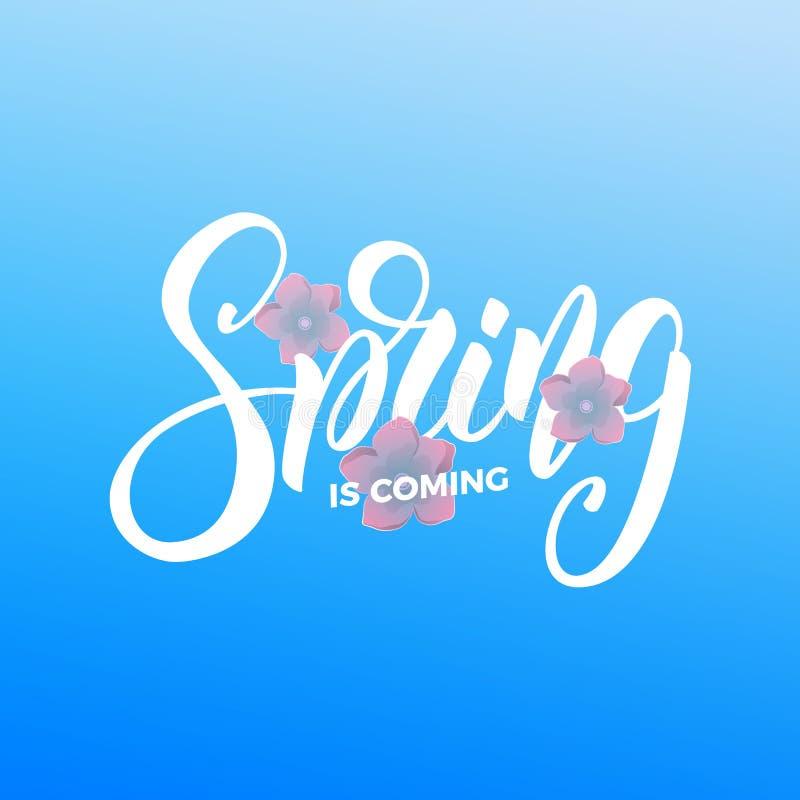 nadchodzącej wiosny Pisma literowania wiosna i świezi kwiaty Karta dla sezonowego promo, sprzedaży, etc ilustracji