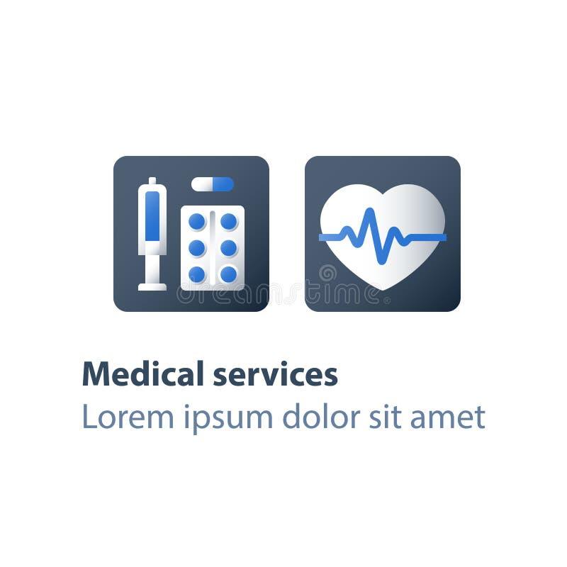 Nadciśnienie choroba, kierowa choroba, wysokie i niskie ciśnienie krwi, insulina dla cukrzyc, sercowy niedomiar lekarstwo ilustracja wektor