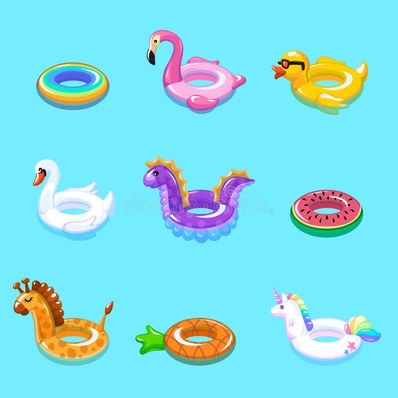 Nade o anel Os brinquedos infláveis da criança da boia do flutuador flutuam férias de verão da nadada da associação da praia do p ilustração do vetor