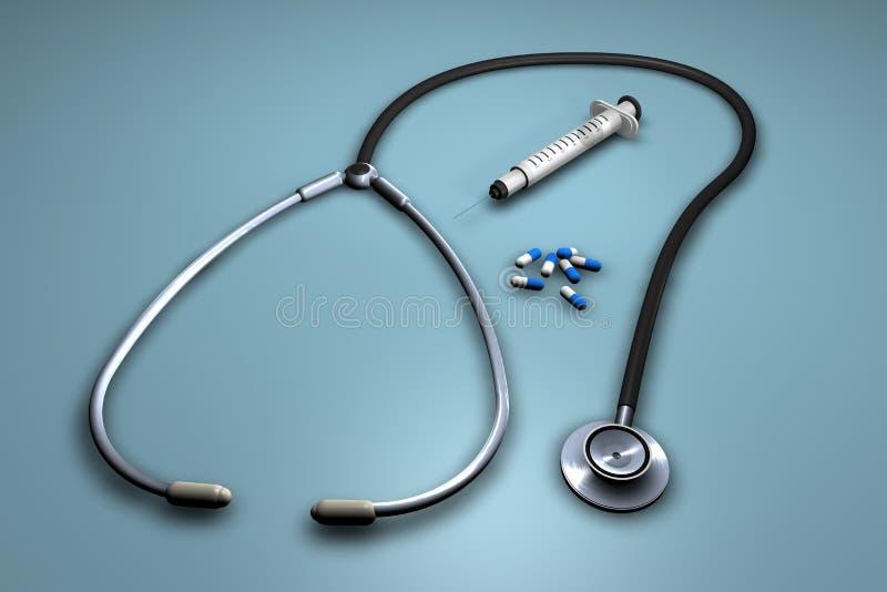 Nadel, Pillen und stethascope stock abbildung