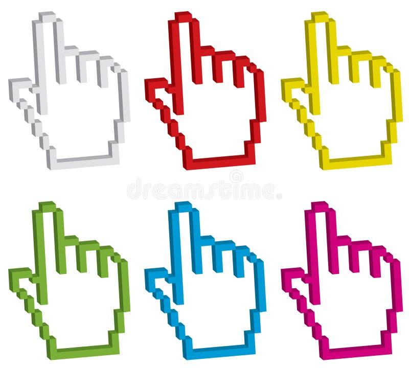 Nadelanzeige der Hand sechs 3d stock abbildung