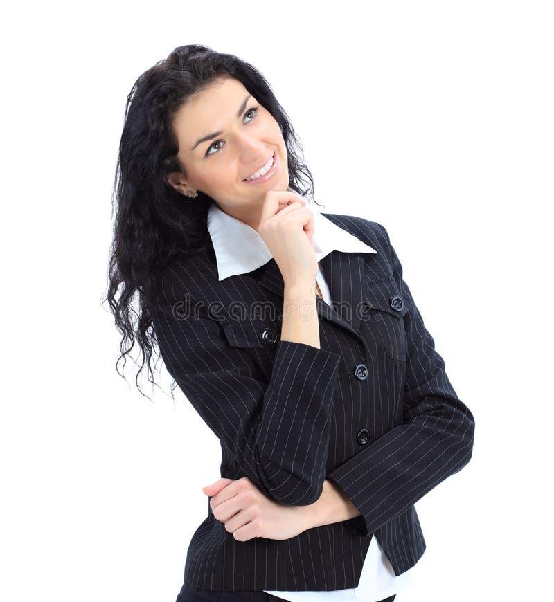Nadenkend bedrijfsvrouwenportret stock afbeelding