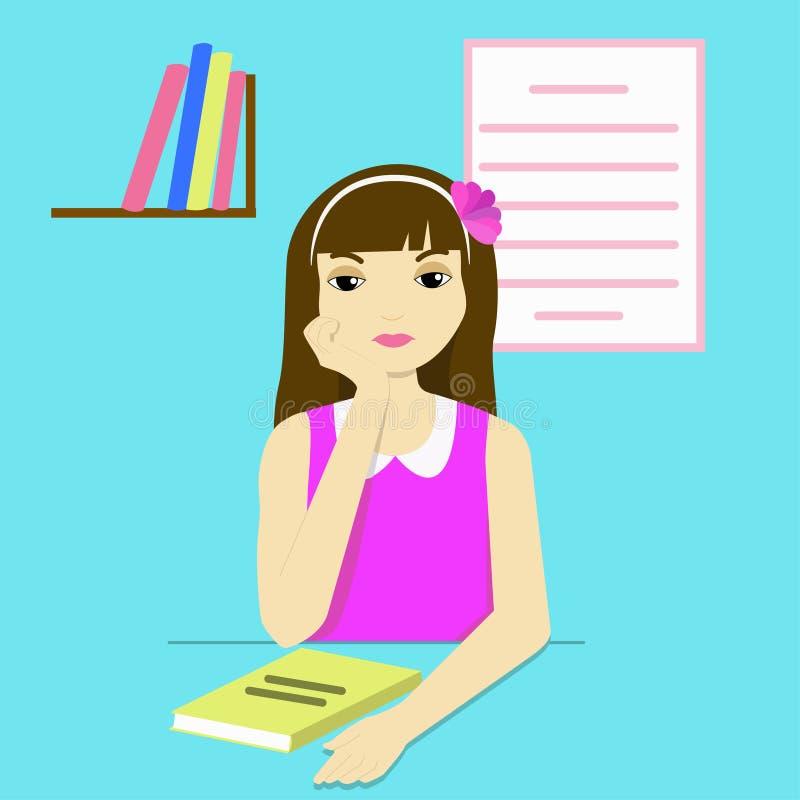 Nadenkend meisje bij haar bureau vector illustratie
