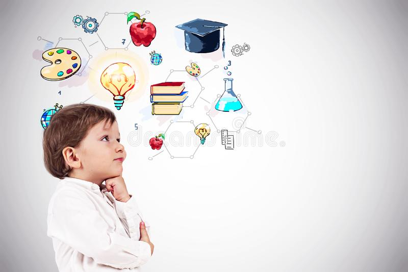 Nadenkend weinig jongen, onderwijsschets stock illustratie