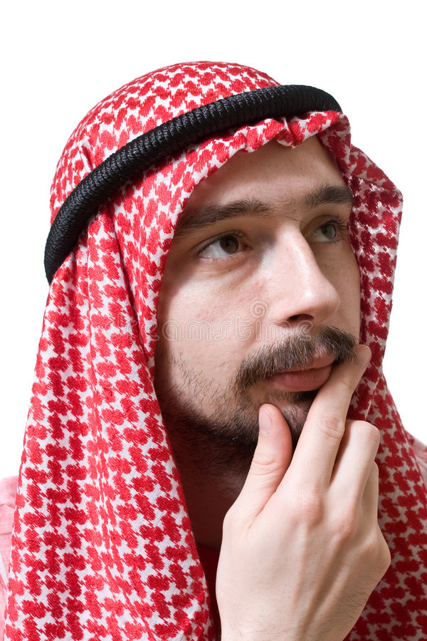 Nadenkende Arabische jonge mens stock afbeeldingen
