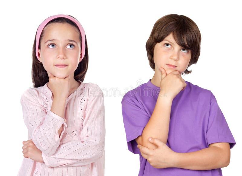 Nadenkende kinderen royalty-vrije stock foto