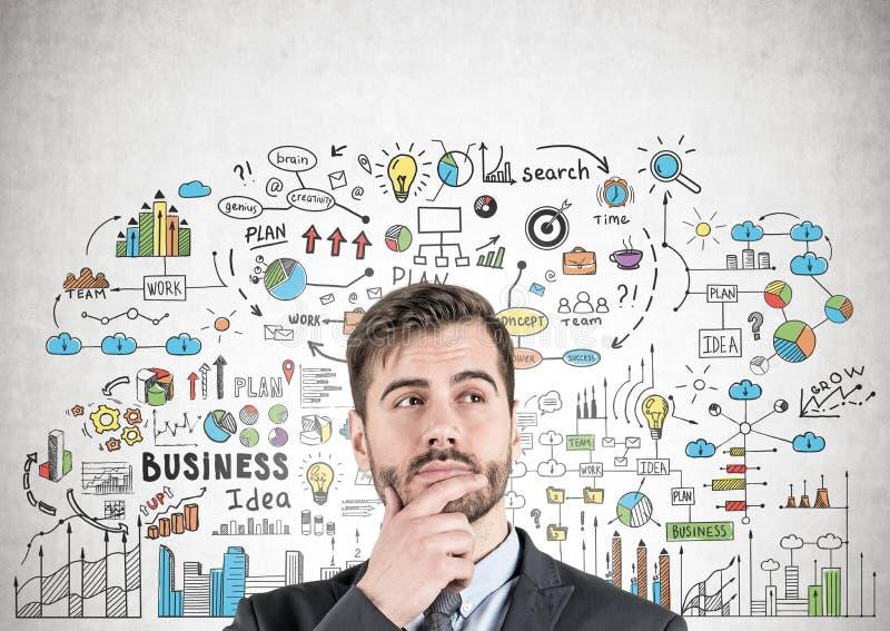 Nadenkende zakenman, bedrijfsstrategie royalty-vrije stock afbeelding