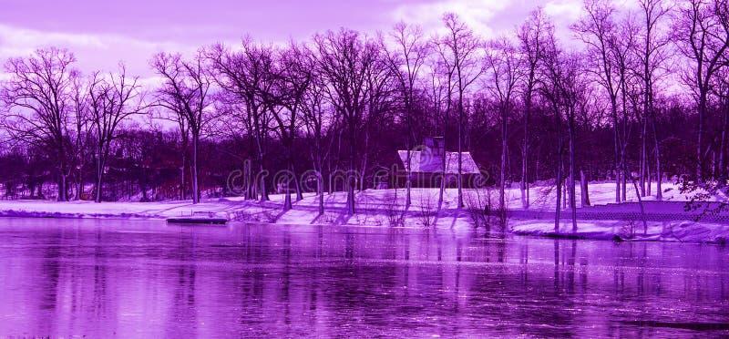 Nadfioletowy zima krajobraz zdjęcie royalty free
