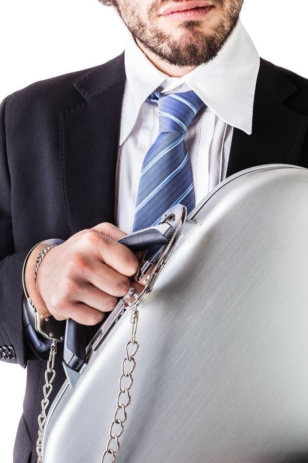 Nadgarstek przykuwająca walizka obraz stock